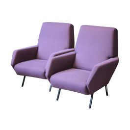Vintage Italian Metal and Purple Armchairs, 1950s, Set of 2
