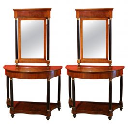 Italian Empire Period Walnut and Ebonized Demilune Console Tables with Mirrors
