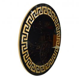 David Marshall Round Wall Mirror in Eglomized Greek Key Motiff SPAIN, Modern 70s