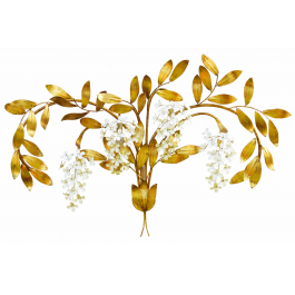 Important Mid-Century Wall Light Sconce Floral Tole French