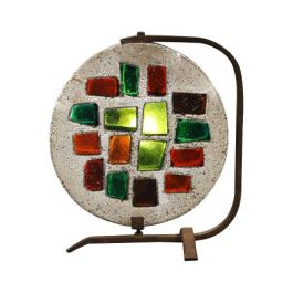 Mid 20th Century Cement and Stained Glass Lamp by Jean Jacques-Duval