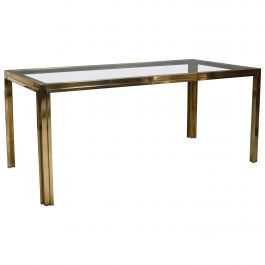 Exclusive Italian Dining Table in Brass, Italy, 1970s