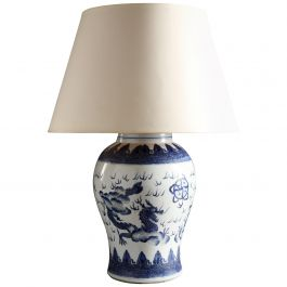 Large 19th Century Blue and White Chinese Vase as a Table Lamp