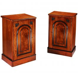 Pair of Edwardian Flame Mahogany Brown Wood Bedside Cabinets