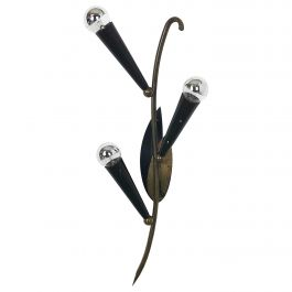 Extra Large Modernist Brass Floral Theatre Wall Light Sconces, France, 1950