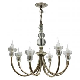French Midcentury Silver Chandelier