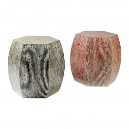 Mother of Pearl Inlay Hexagon Stools