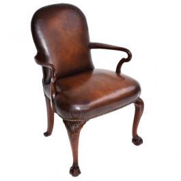 Antique Mahogany George II Style Leather Arm Chair