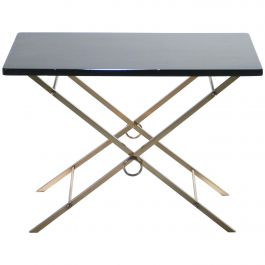 French Midcentury Black Lacquer and Brass Side Table Adnet Style, 1960s