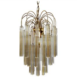 Midcentury Italian Murano by Paolo Venini White and Yellow Crystal Chandelier