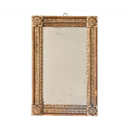 A Provincial Rectangular Mirror With A Carved Giltwood Frame