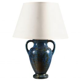 Pierrefonds Pottery Vase with Blue Crystalline Glaze, Mounted as a Lamp