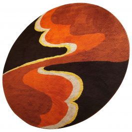 Large Psychedelic Panton High Pile Rug Carpet by Cromwell Tefzet, Germany