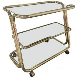 Midcentury Italian Brass Metal Bar Cart with Smoked Glass Shelves from 1970s