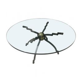 Peter Ghyczy Iron And Brass Circular Coffee Table