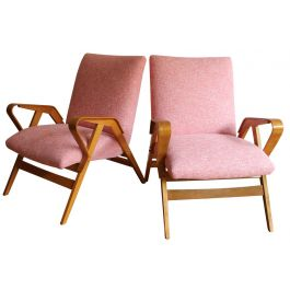 Pair of Mid Century Tatra Armchairs; Model No. 24-23 by Frantisek Jirak