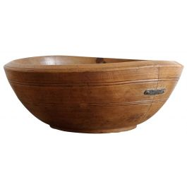 Large Antique Sycamore Dairy Bowl
