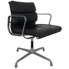 Eames Herman Miller Dark Brown Leather Soft Pad Group Chair