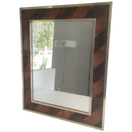 Wooden Marquetry And Brass Mirror. Circa 1960