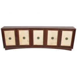 Mid-Century Mexican Modernist Mahogany Credenza with Mendoza Pulls and Goatskin