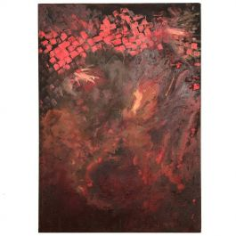 Abstract Oil in Canvas Red