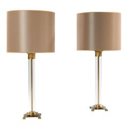 Pair of Perspex Lamps with Brass Mounts