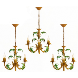 French Tôle 'Faux Bamboo' Chandelier c1950
