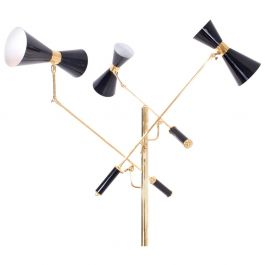 Arredoluce brass and black Lacquered Triennale Floor Lamp