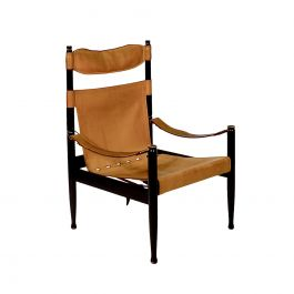 High Back Leather Campaign Chair