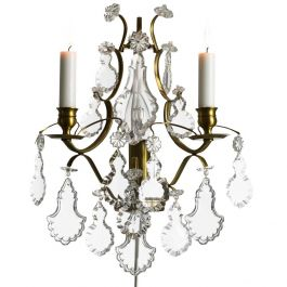 Wall Sconce: Baroque cognac coloured Brass with pendeloque crystals