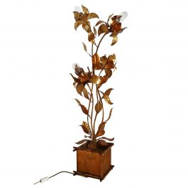 Vintage Golden Floor Lamp with Gilt Illuminated Flowers by Hans Kogl, 1970s