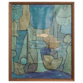 Vintage Paul Klee Abstract Silkscreen Print, Fish in Blue Green