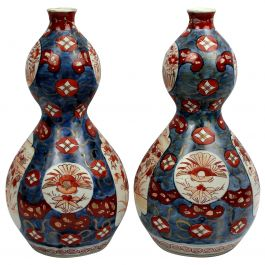 Pair of 19th Century Imari Double Gourd Vases