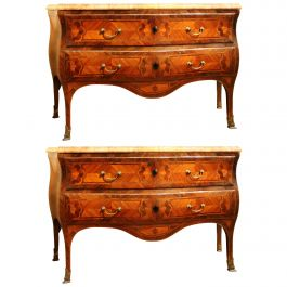 Pair of Italian Louis XV Tulipwood and Kingwood Bombe Commode with Marble Top