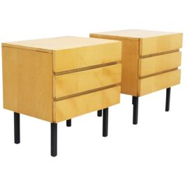 A Pair of 1970's French Satin Birch Veneered Bedside Tables