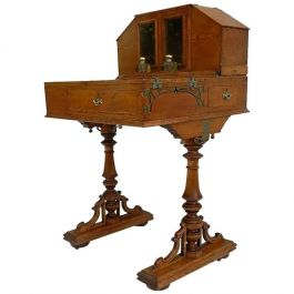 Early 20th Century Campaign Davenport Honey Oak Desk with Inkwell