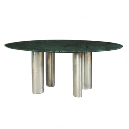 Green marble dining table top and chrome metal