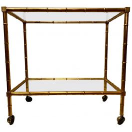 Italian Brass Faux Bamboo Bar Cart/ Drinks Trolly