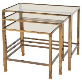 Three Side Tables with Tinted Glass