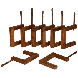 Large Antique Wooden Screws Clamps Clips, Set of 8