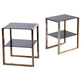 Pair of Brass and Chrome Two-Tiered End Tables