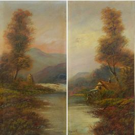 Unknown Pair Landscape Oil Paintings signed Trent British early 20th century early 20th century