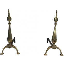 Pair Of Brass And Wrought Iron Andirons
