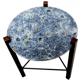 Blue Granite and Solid Bronze Side Table Mid Century Modern