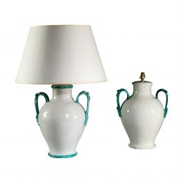 Matched Pair of White and Green Ceramic Table Lamps with Handles