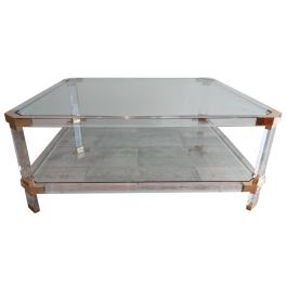 Vintage Lucite and Brass Coffee Table from Charles & Hollis Jones, 1970s
