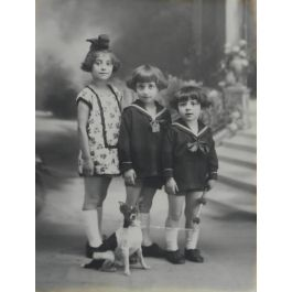 UnknownAntique Portrait Photograph of Three French Children and Dog c1920c1910-1920