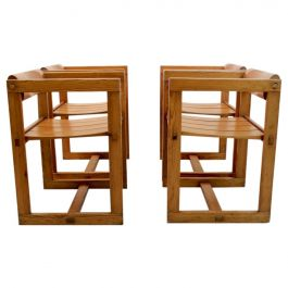 Set of Four Edvin Helseth Pinewood Dining Chairs with Armrests, Trybo Norway