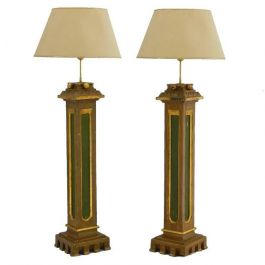 Pair Arts & Crafts Torchere Lamps Spanish Church Original Painted Columns