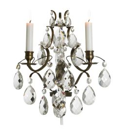 Wall Sconce: Baroque Antique Brass with almond crystals